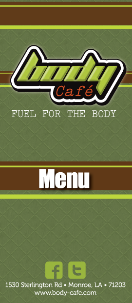 Restaurant Menu Design - Body Cafe Menu Front