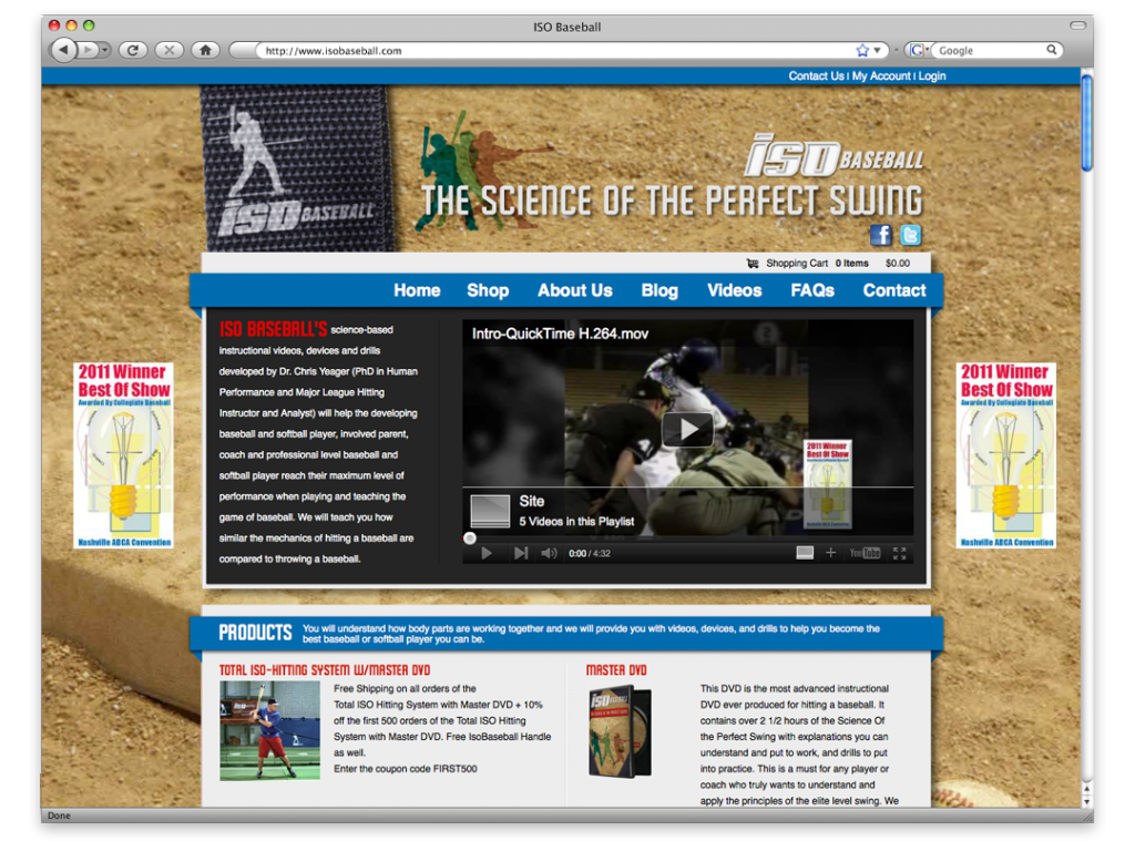 ISO Baseball Website Design and Development