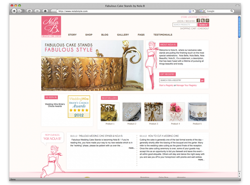 Website Design and Development - Nola B Website
