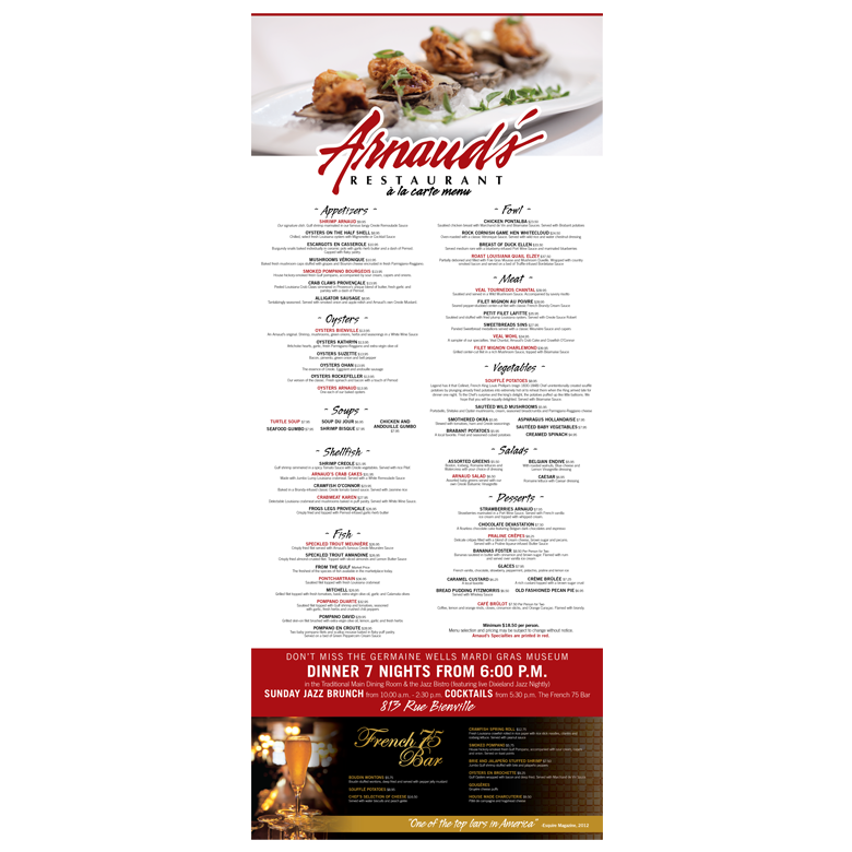 New Orleans Printed Marketing Collateral - Arnaud's Restaurant Menus