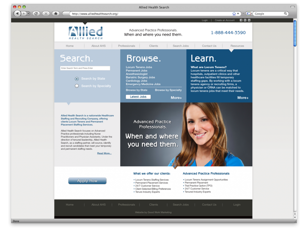 New Orleans Website Development and Design - Allied Health Search Website