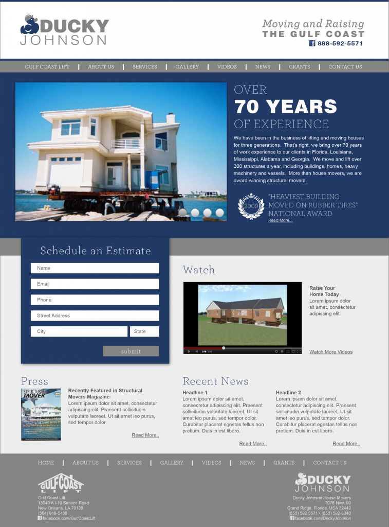 New Orleans Website Design and Development - Ducky Johnson Website