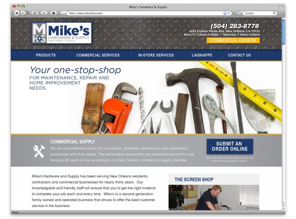 New Orleans Website Design and Development - Mike's Hardware Website