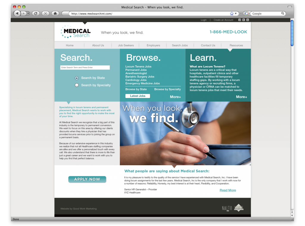 New Orleans Website Development and Design - Medical Search Website