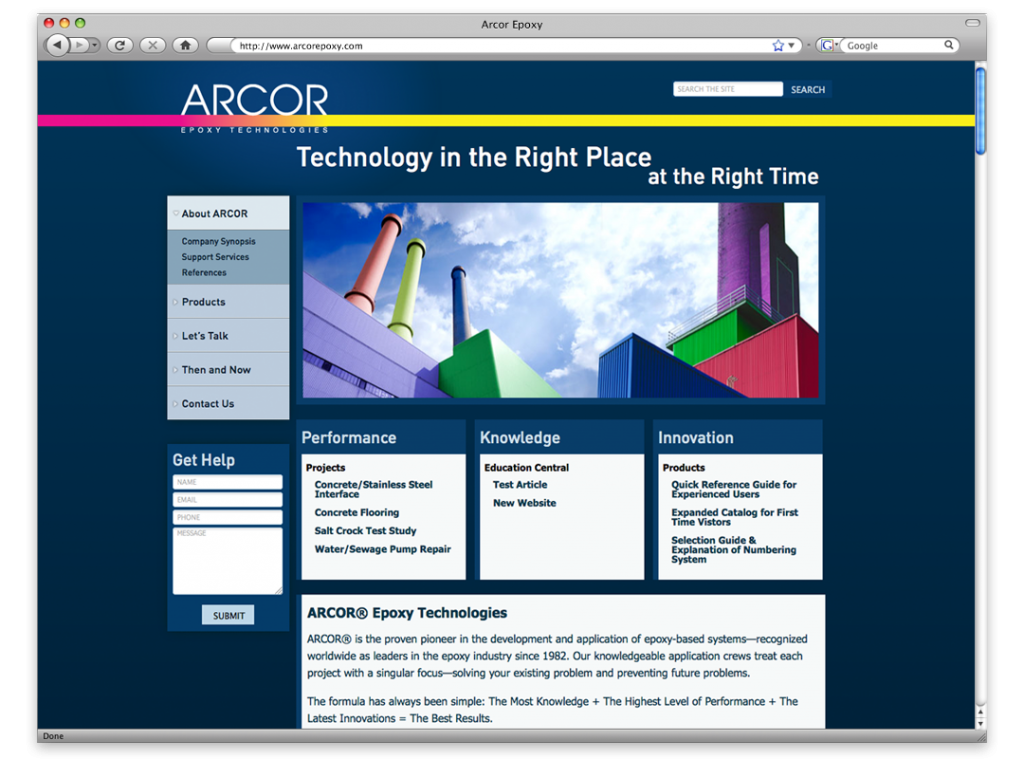 Website Design and Development - Arcor Website