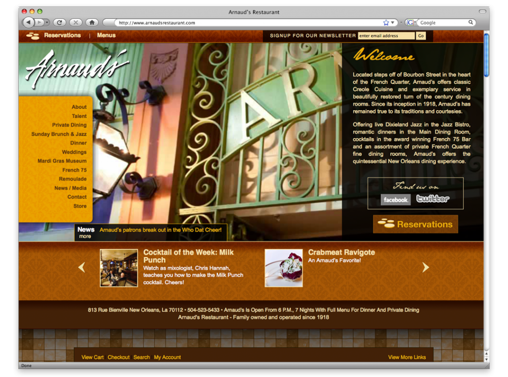Arnaud's Restaurant - Website Design and Development