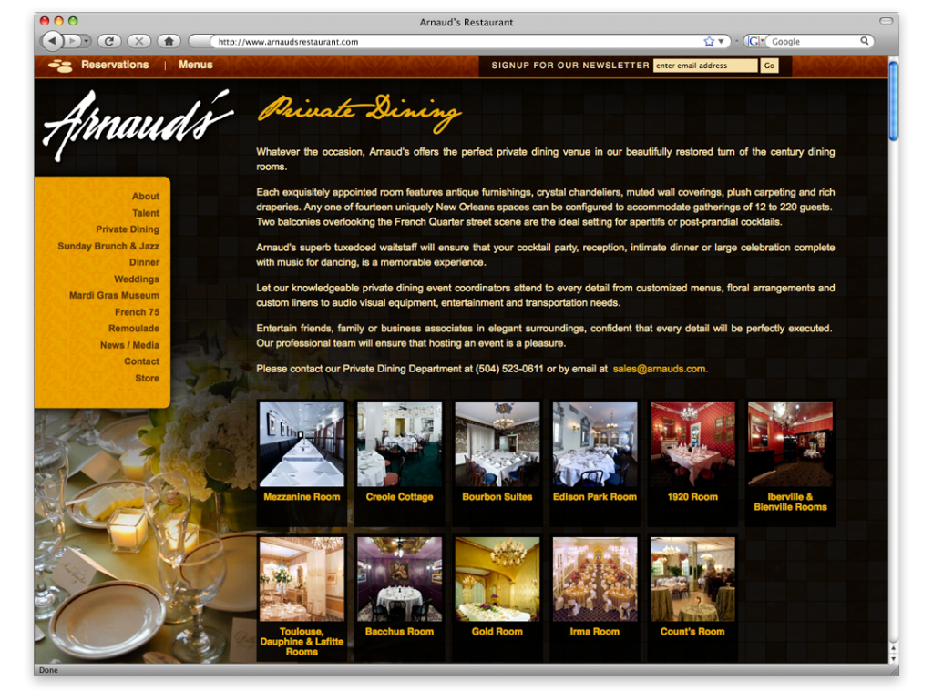 Louisiana Website Development and Design - Arnaud's Website Interior