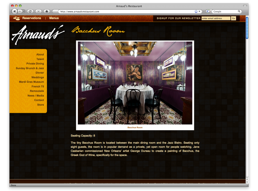Arnaud's Restaurant Website Design and Development