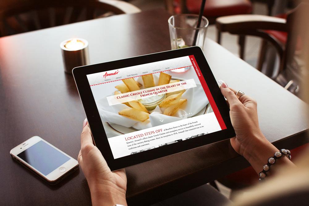 Tablet Website Development - Arnaud's Restaurant