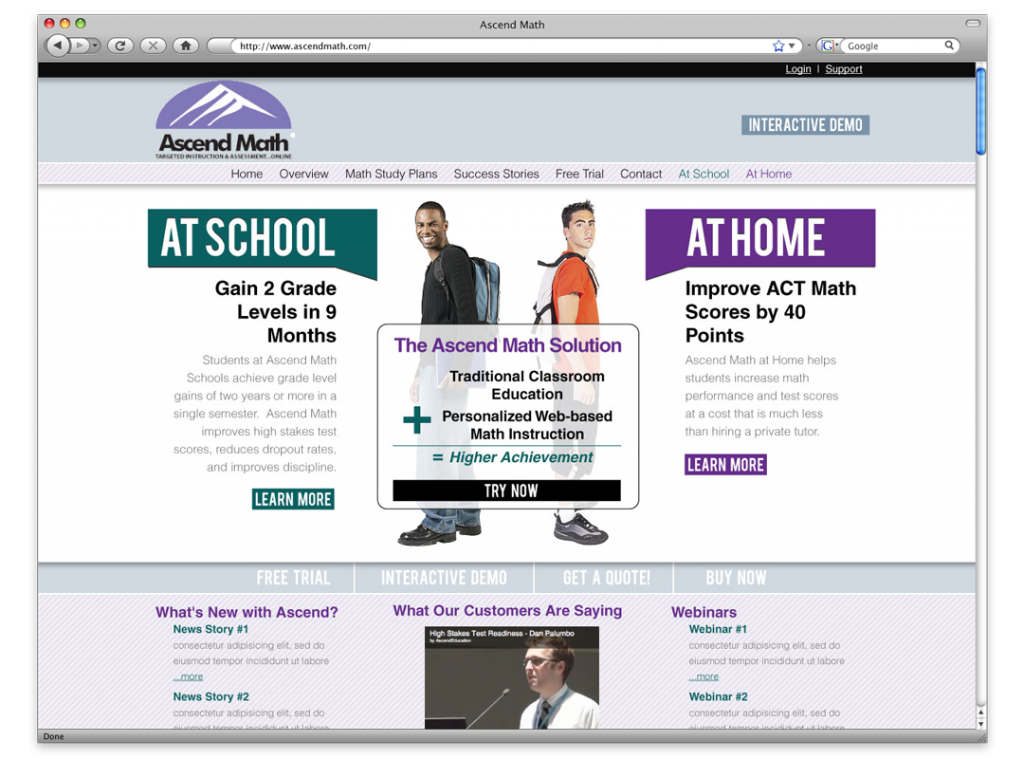 new orleans website design website development ascend math  ascend math website design and development ascend math website development and design