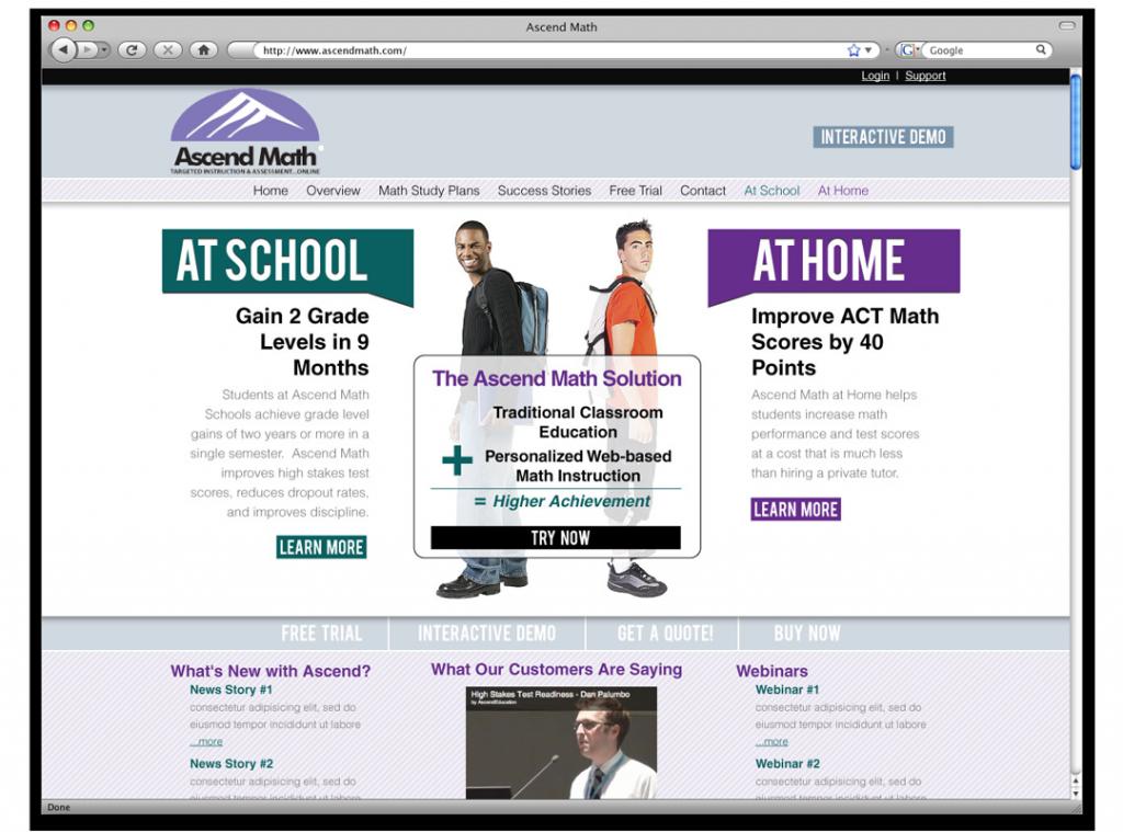 Ascend Math Website Development and Design