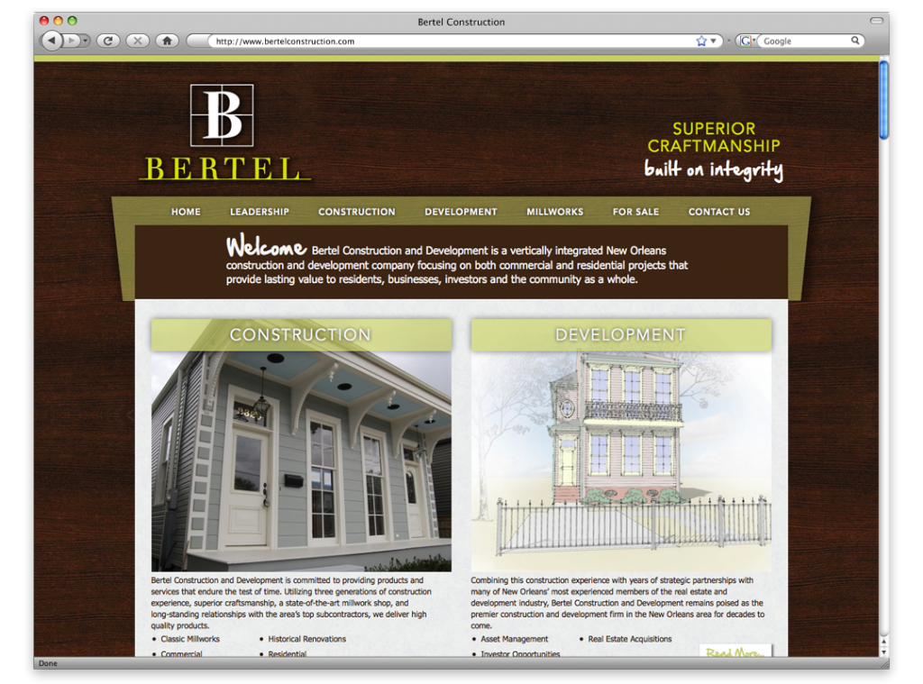 Website Design and Development - Bertel Website