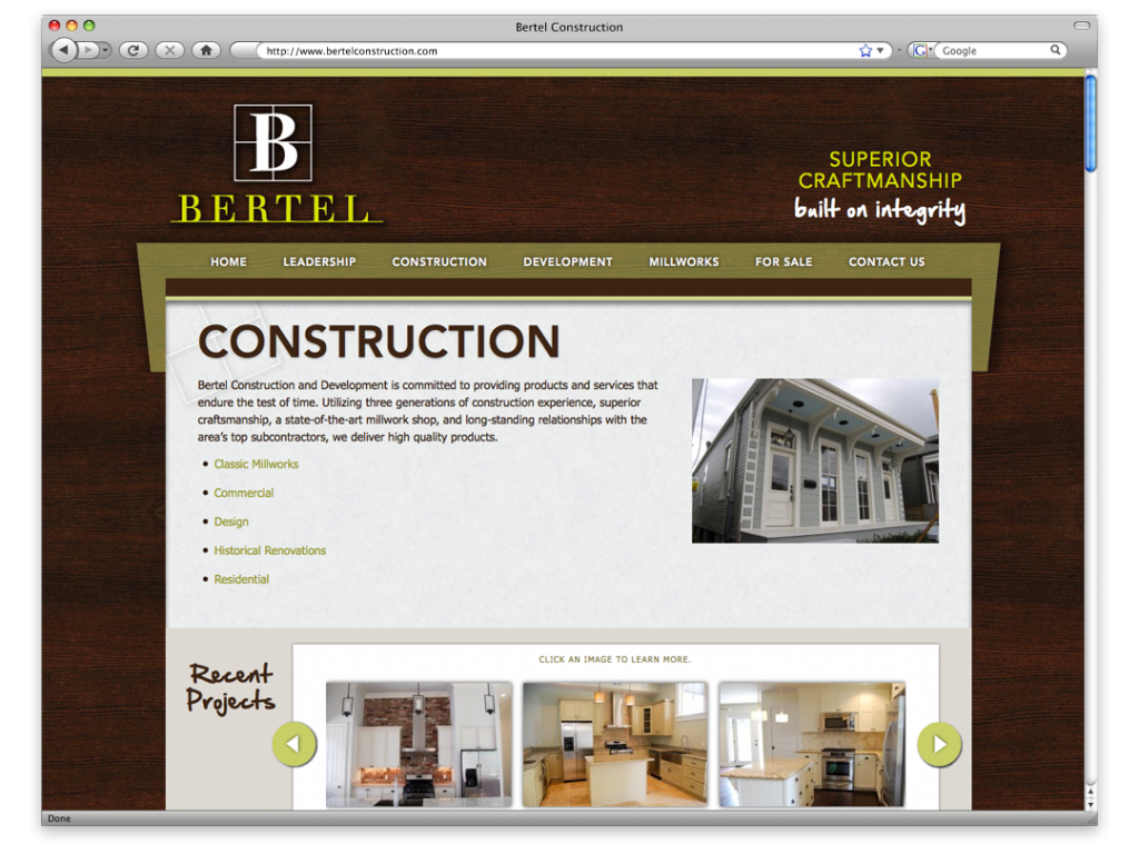 New Orleans Website Design and Development - Bertel Website Interior