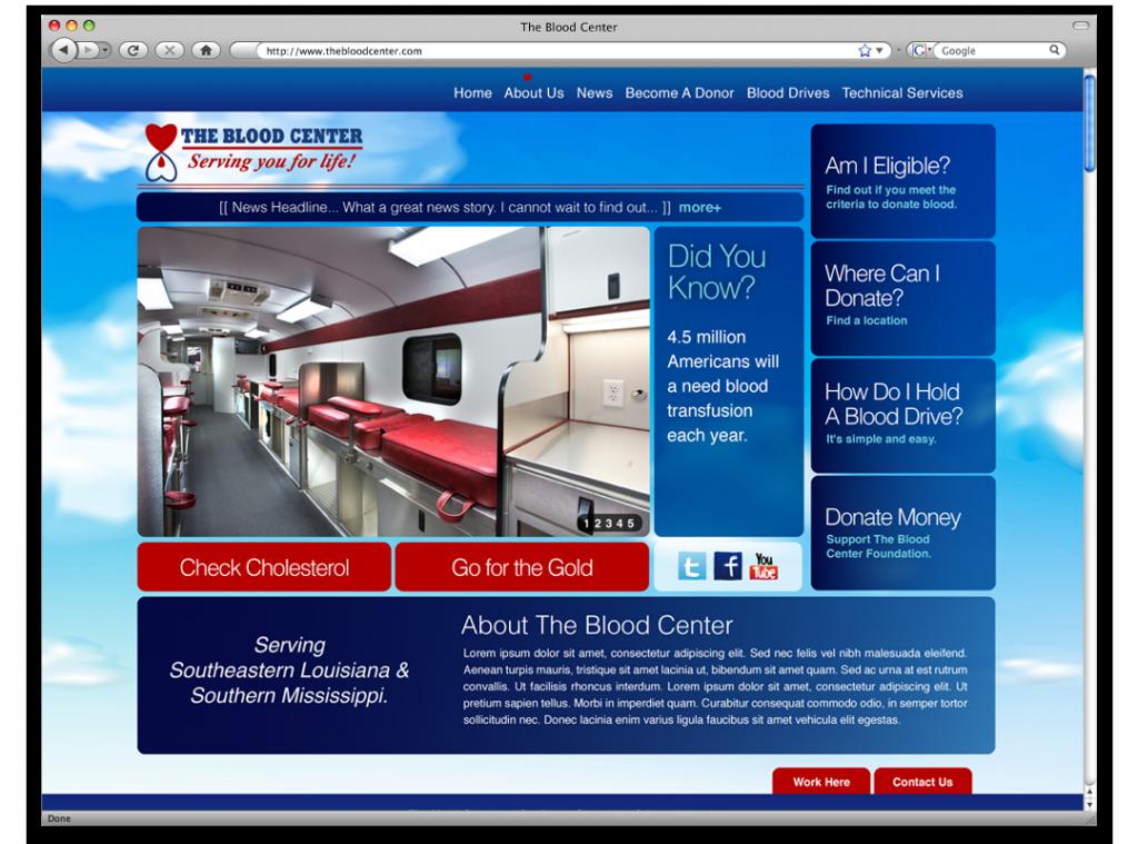 The Blood Center Website Design and Development