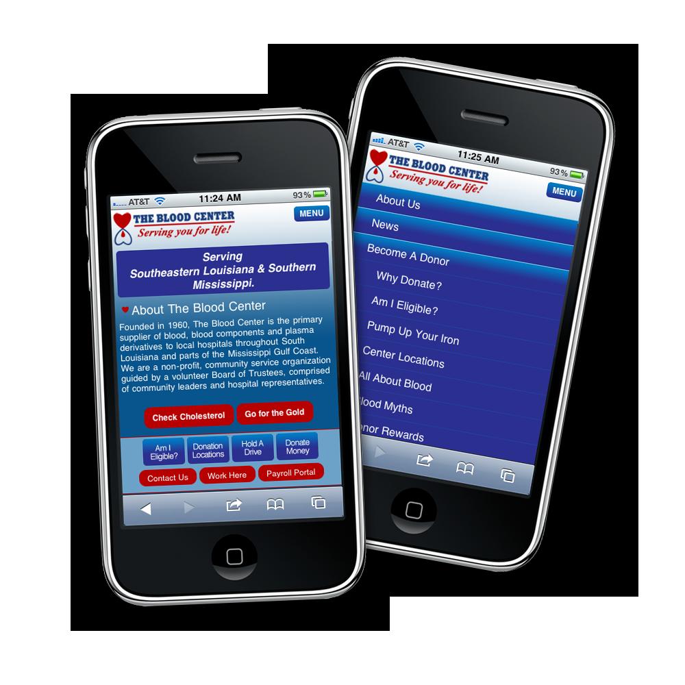Blood Center Mobile Website Design and Development