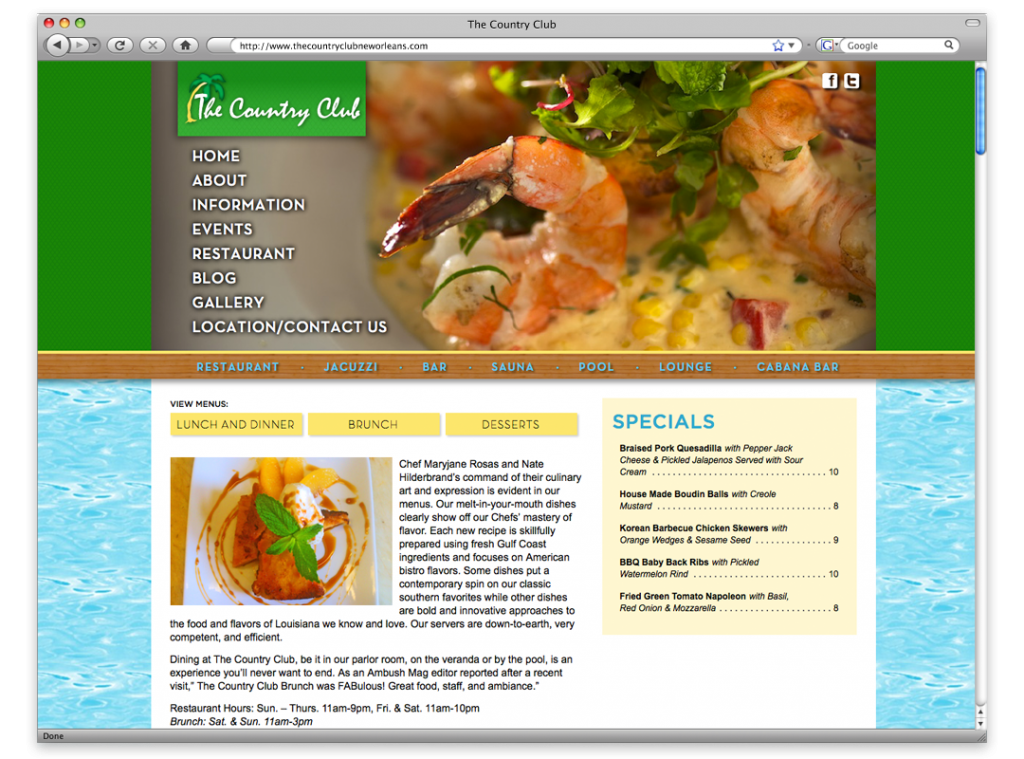 Website Development and Design - The Country Club Website