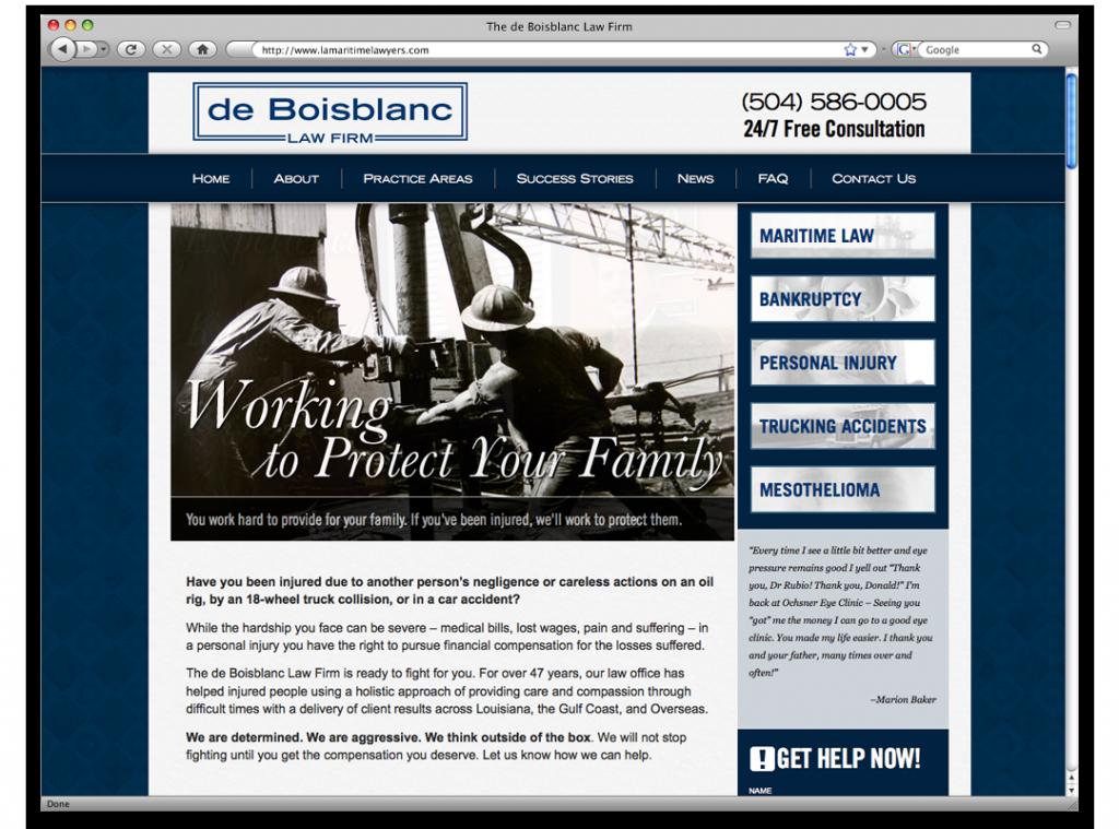 New Orleans Website Design and Development - de Boisblanc Website