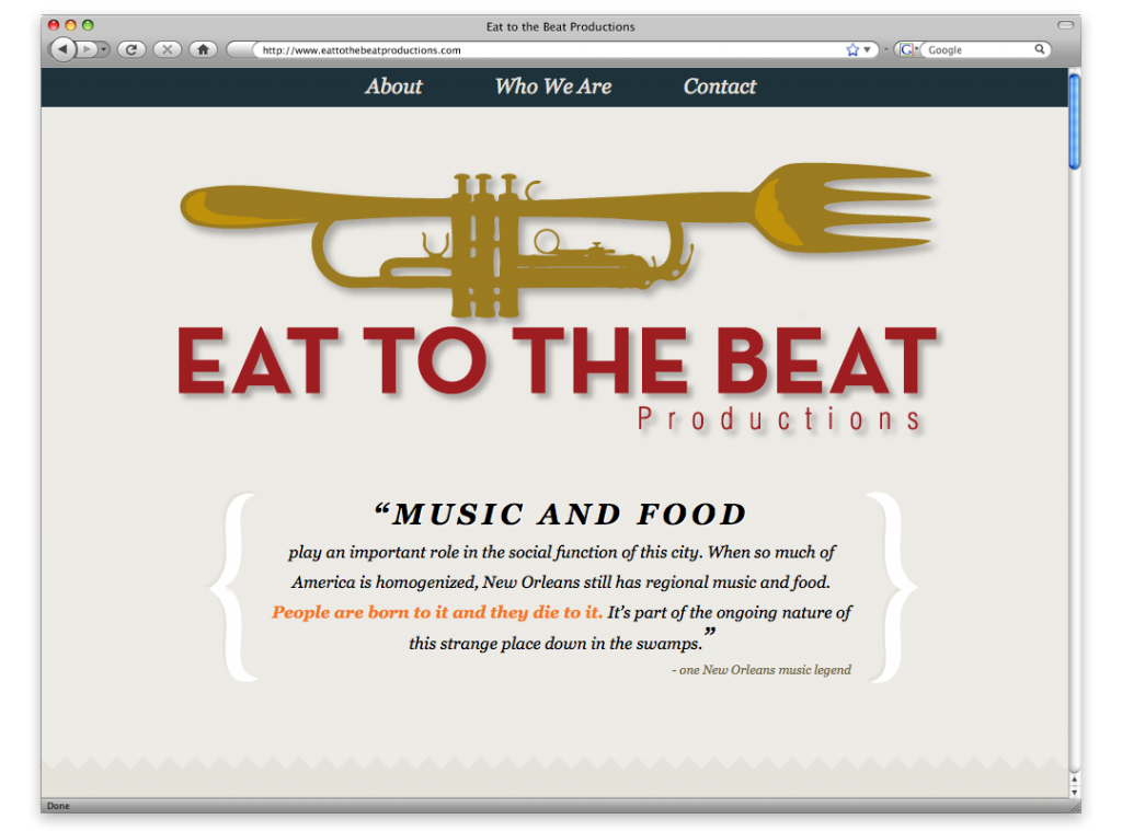 New Orleans Website Design and Development - Eat to the Beat Website
