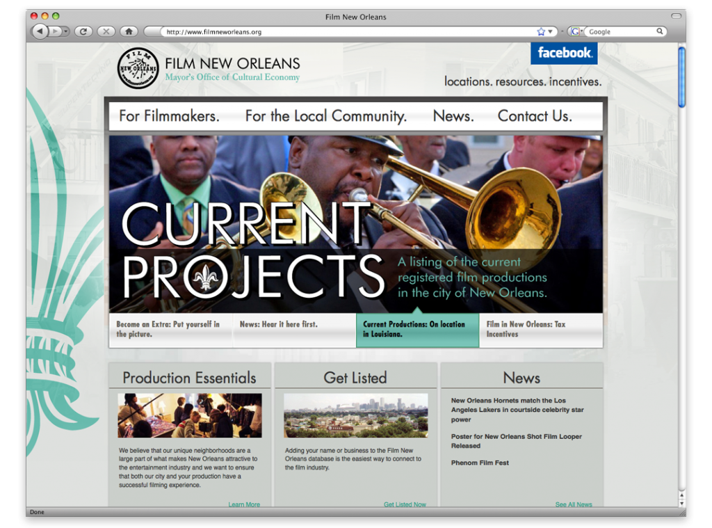 Website Design and Development - Film New Orleans Website