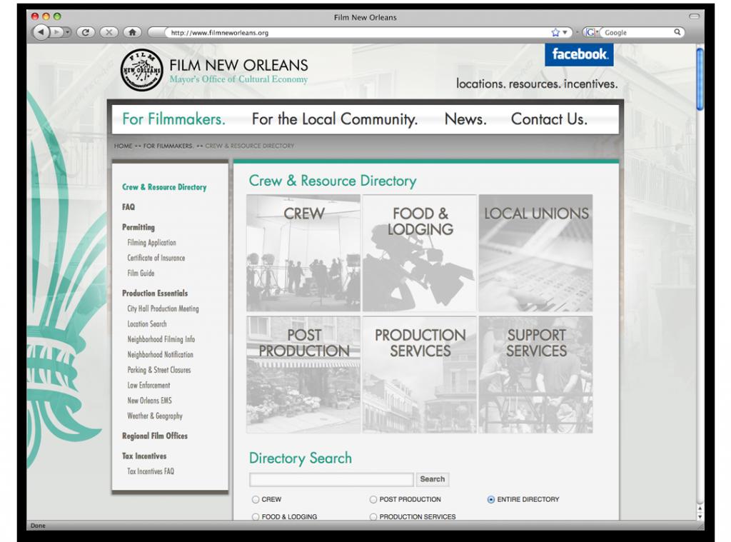 Website Development - Film New Orleans Website