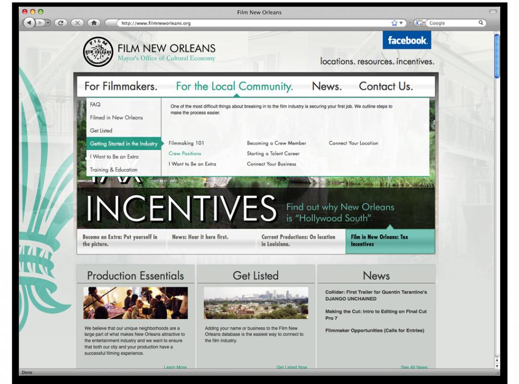 Website Design - Film New Orleans Website