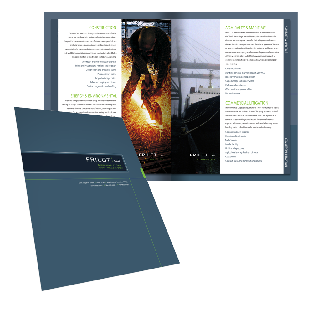New Orleans Marketing Collateral Design - Frilot Folder Design