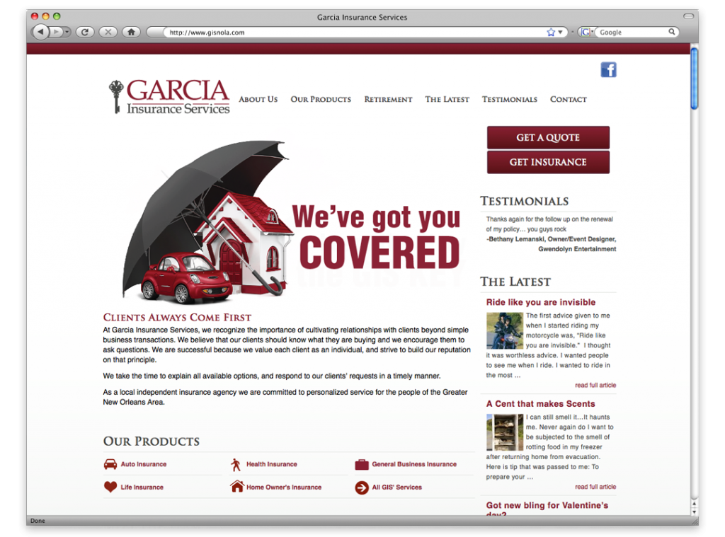 New Orleans Mobile Website Development and Design - Garcia Insurance Website
