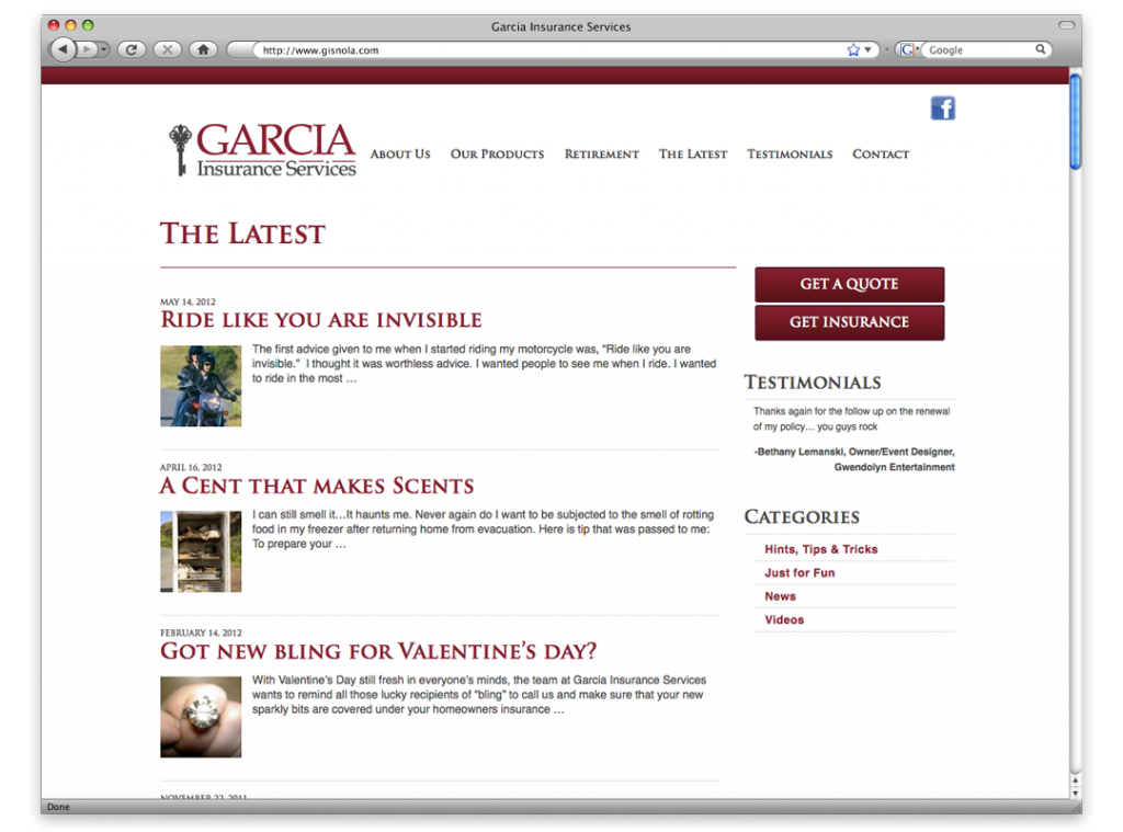 New Orleans Website Development and Design - Garcia Insurance Website