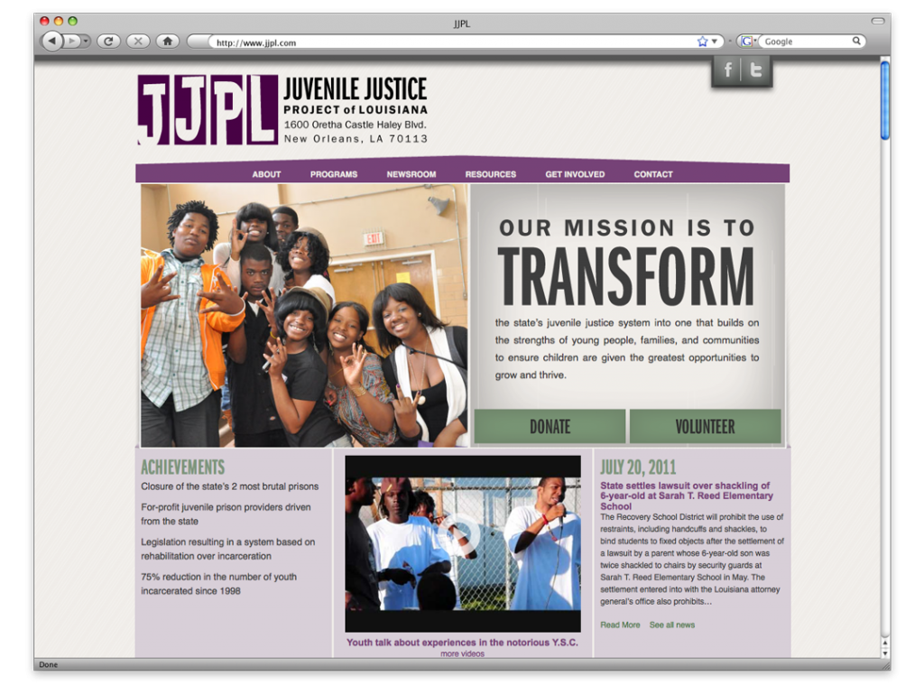 Website Design and Development - Juvenile Justice Project of LA Home Page