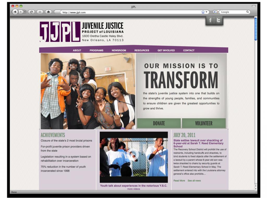 Website Design and Development - Juvenile Justice Project of LA Home Page