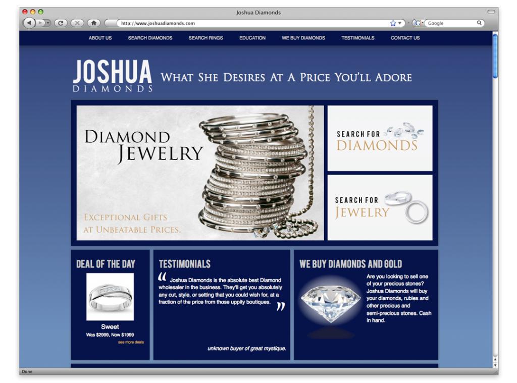 Website Development and Design - Joshua Diamonds Website