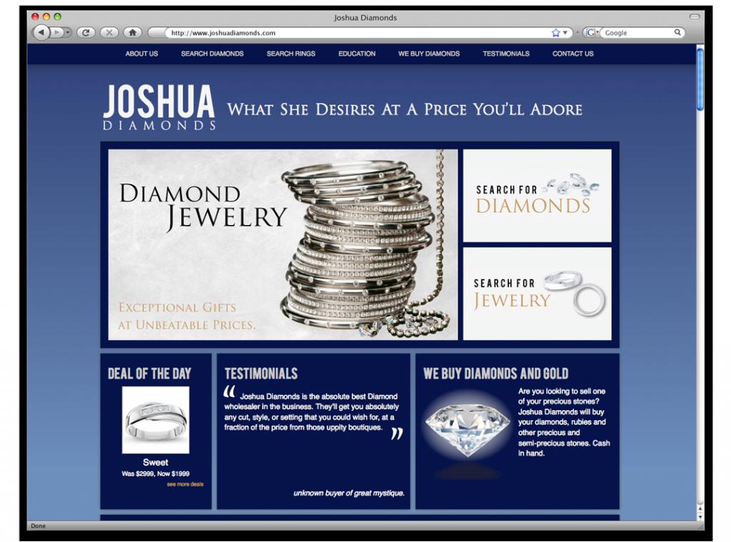 Website Development and Design - Joshua Diamonds Website