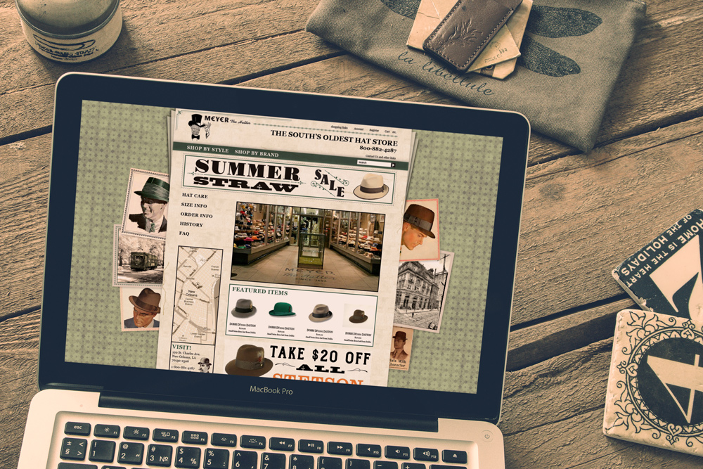 New Orleans Website Development and Design - Meyer the Hatter