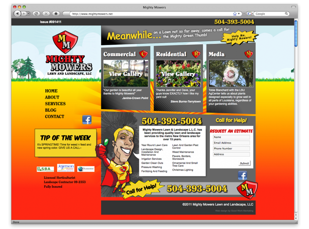 New Orleans Website Design and development - Mighty Mowers Website