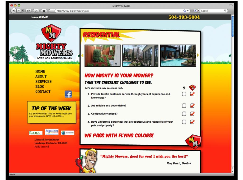 Website Development and Design - Mighty Mowers Website