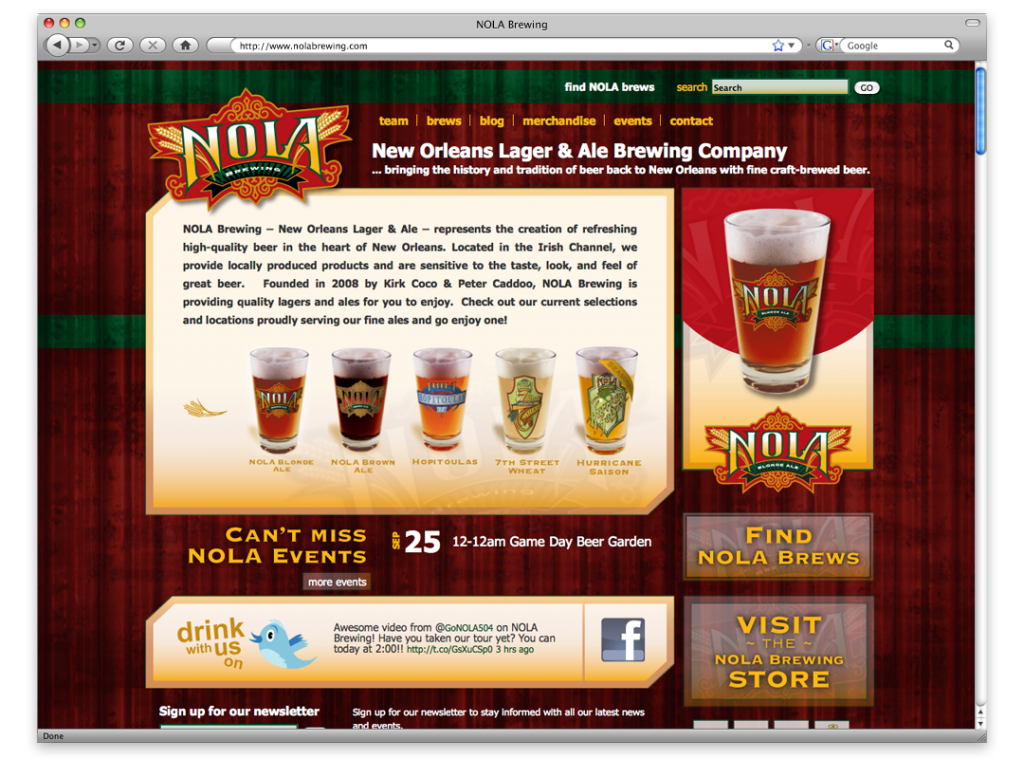 NOLA Brew Website - Lousiana Website Development and Design