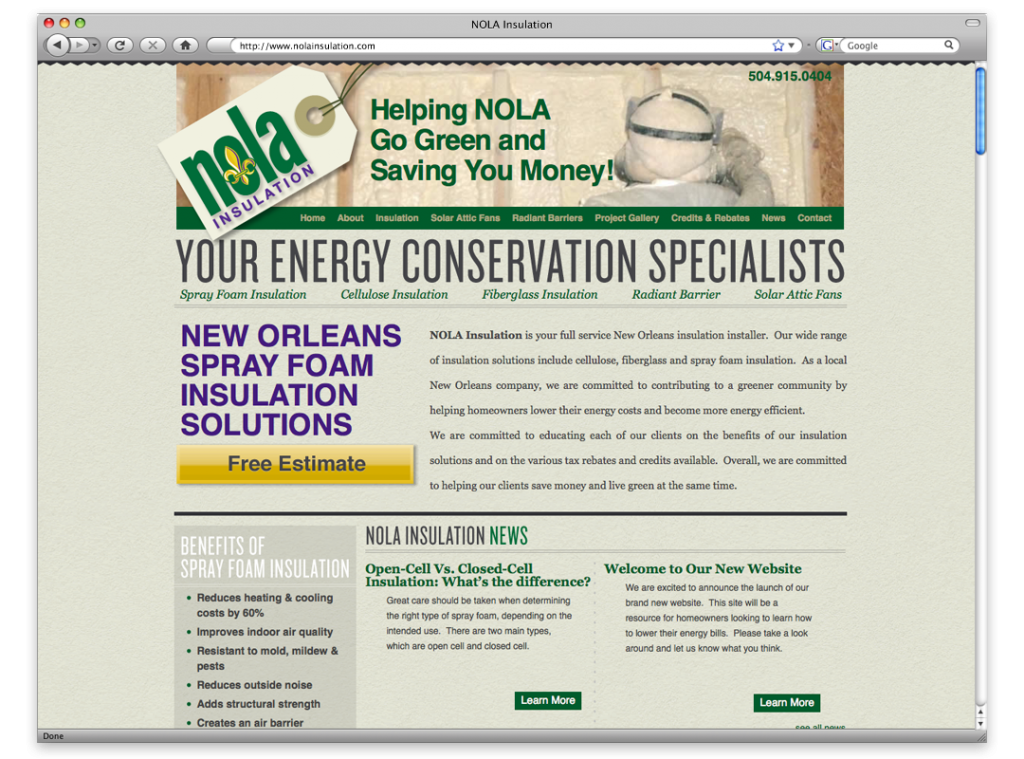 Website Design and Development - NOLA Insulation Website