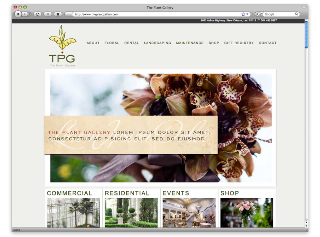 Website Development and Design - The Plant Gallery Website
