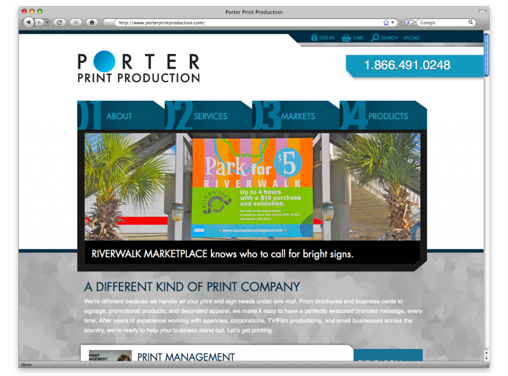 Website Development and Design - Porter Print Website
