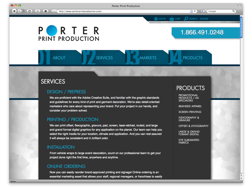 Website Design and Development- Porter Print Website
