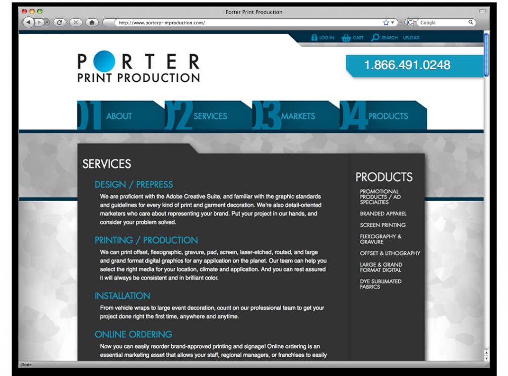 Website Design and Development- Porter Print Website