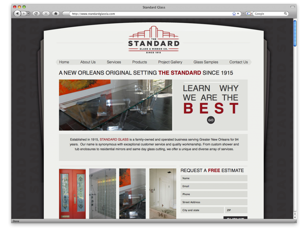 Website Design and Development - Standard Glass Website