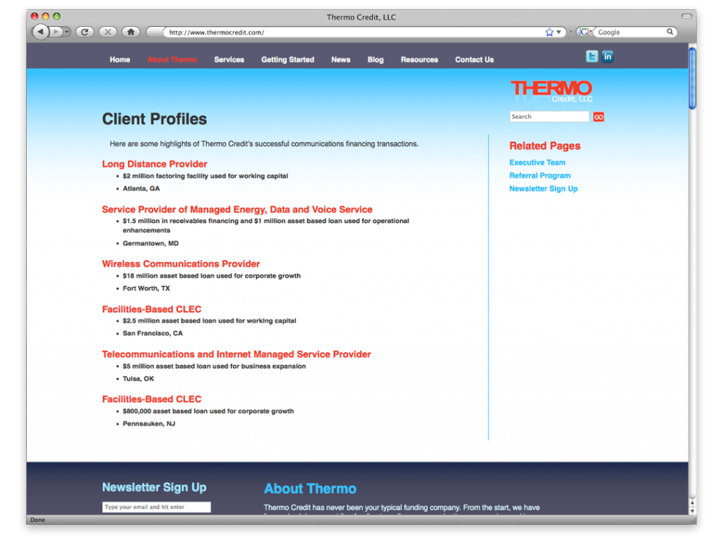 New Orleans Website Design and Development - Thermo Credit