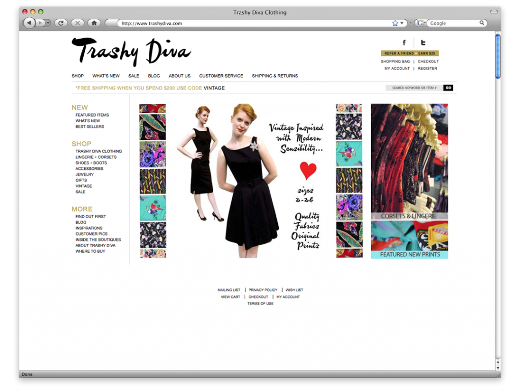 Website Design and Development - Trashy Diva Website
