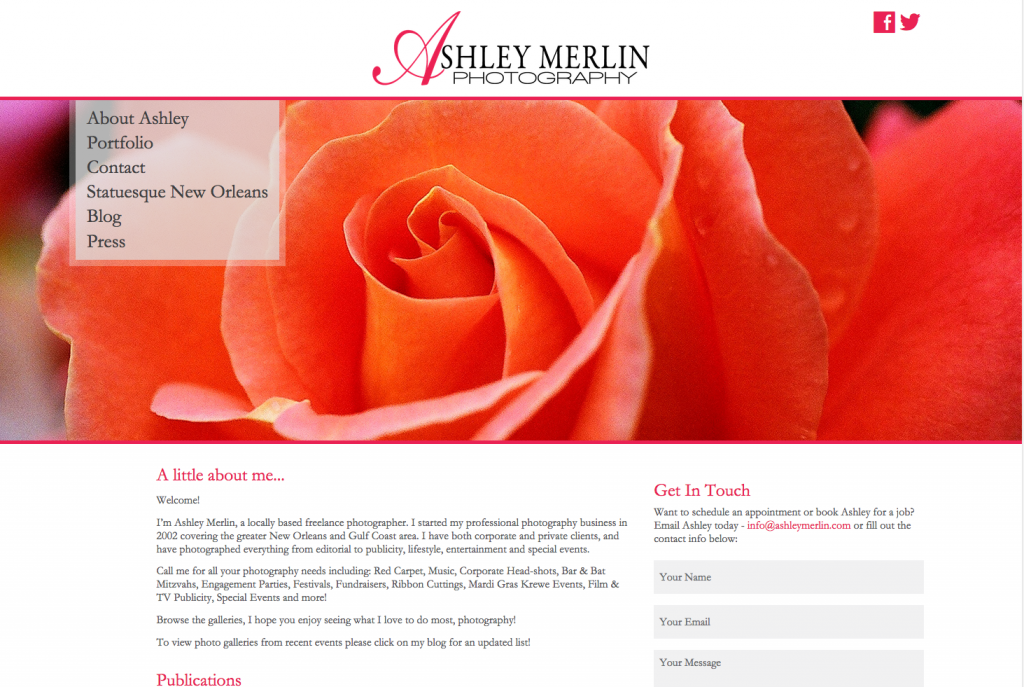 New Orleans Website Development and Design - Ashley Merlin Photography Website