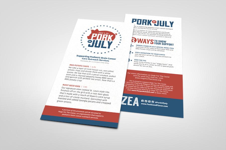 Printed Marketing Collateral Menu - Zea