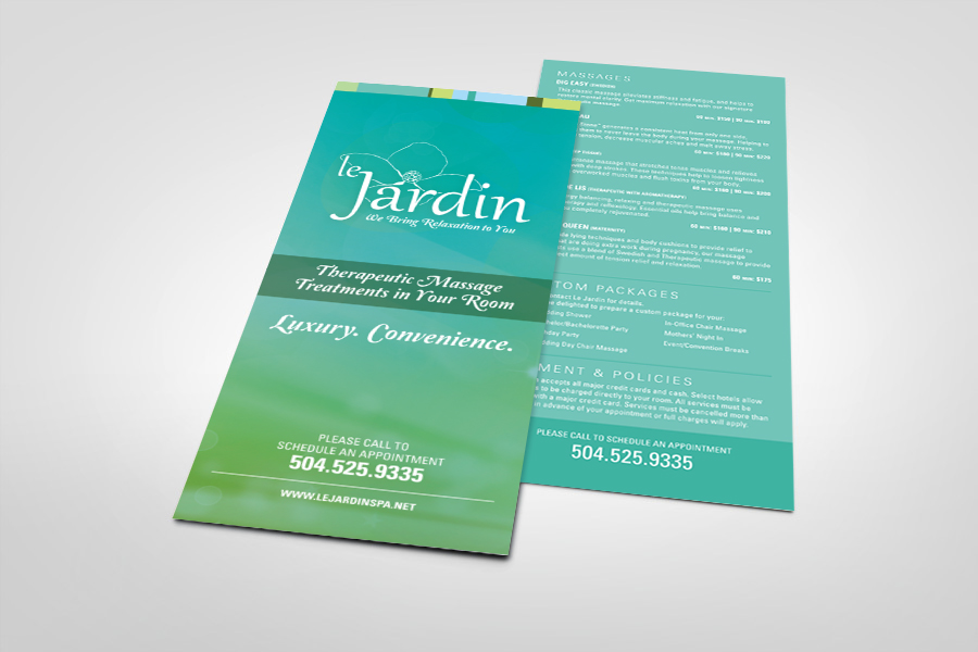 Custom Marketing Collateral - Rack Card Design Le Jardin 1