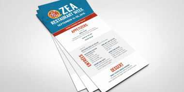 Custom Restaurant Menus - Zea Restaurant Week Menu Design